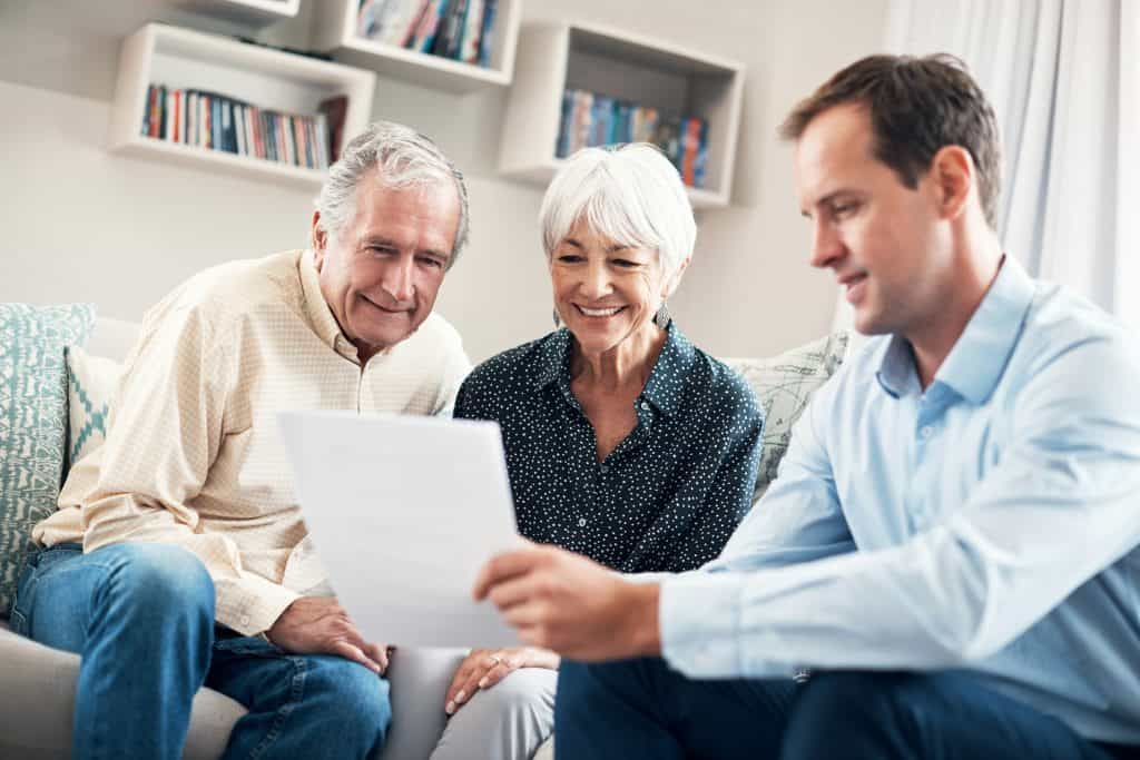 Senior couple meeting with broker